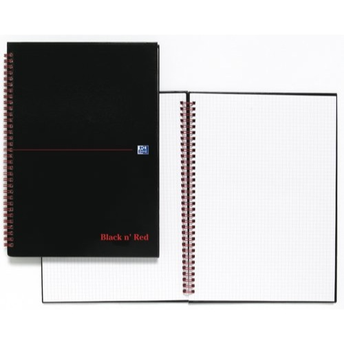 Black n' Red A4 Notebook Wirebound 90gsm Quadrille 5mm 140 pages Ref 846350102
