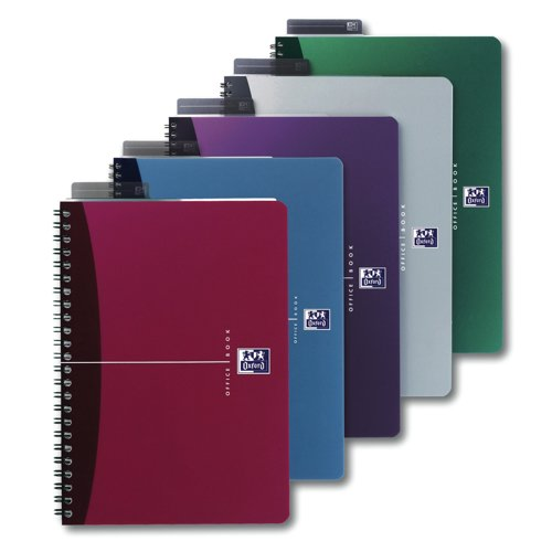Oxford Office A4 Notebook Wirebound Polypropylene Cover 90gsm180 Page Assorted 100101918 Pack 5