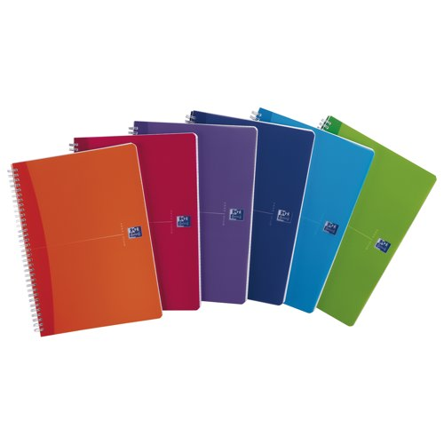 Oxford Office Notebook A5 Twin Wire Plastic Ruled 180pp 90gsmBright Assorted Ref 100104780 Pack 5