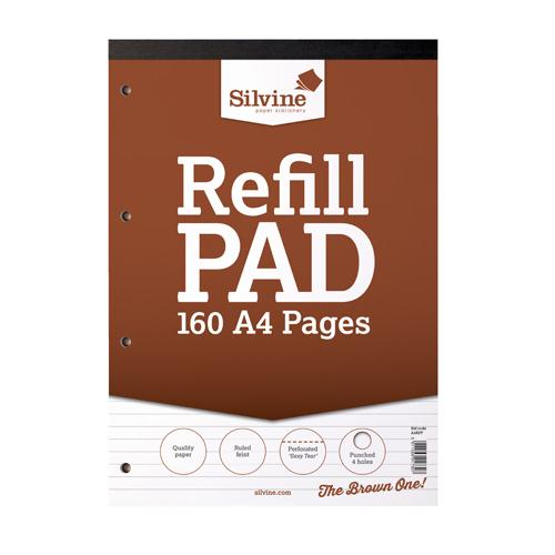 Silvine Refill Pad A4 Punched 4 Hole Headbound 80 Leaf Ruled Feint Pk6 A4RPF