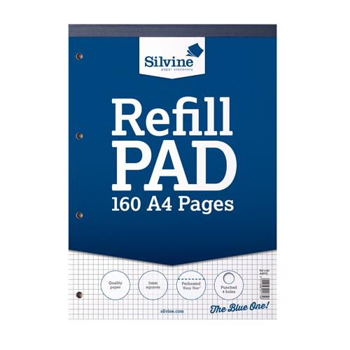 Silvine Refill Pad A4 80 Leaf Ruled 5mm Square Pk6 A4RPX