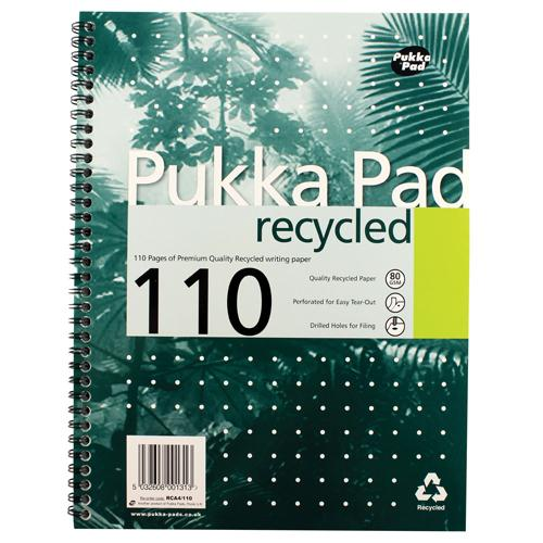Pukka Quality Recycled A4 Pad 80g 110pp