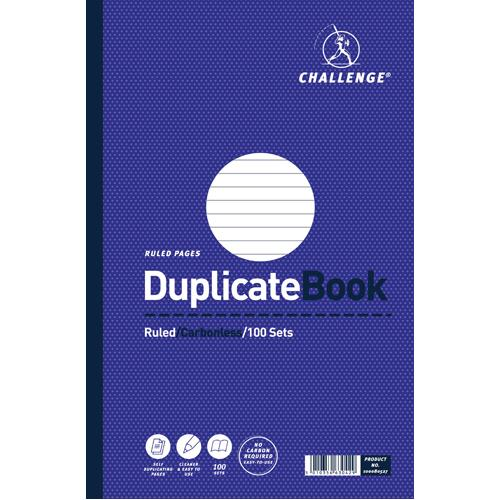 Challenge Duplicate Book Ruled Carbonless 100 Sets 297x195mm Pk 3 100080527
