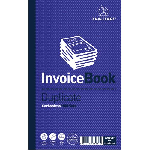 Challenge Invoice Book Duplicate Carbonless 100 Sets 210x130mm Pk 5 100080526