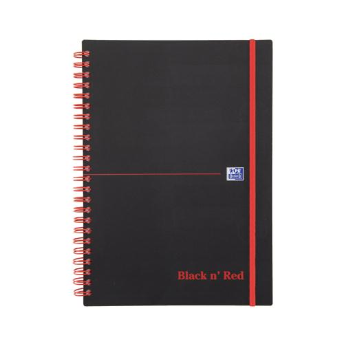 Black n' Red Wirebound Elasticated Notebook A5 Polypropylene 140 Pages Feint 846350109