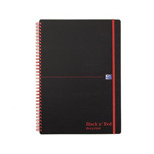 Black n' Red Wiro Notebook A4 Feint Recycled Polypropylene 846350973