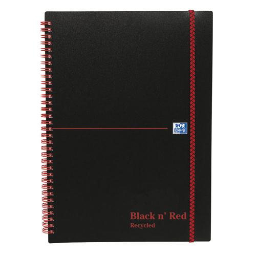 Black n' Red Wirebound Elasticated Notebook A5 Polypropylene Feint Recycled 846350963