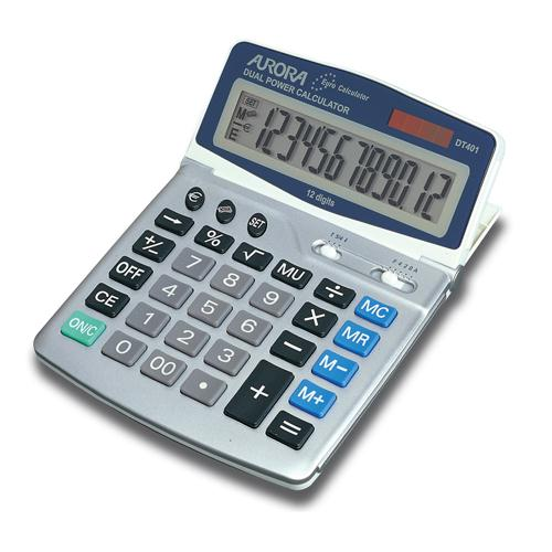 Aurora Silver/Grey 12-digit Desk Calculator DT401