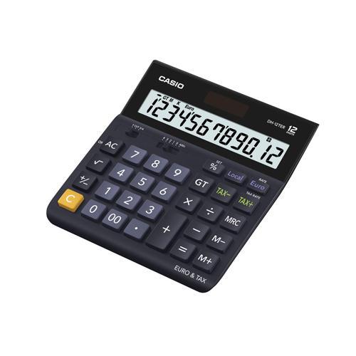 Casio 12-digit Landscape Tax/Currency Calc. Black