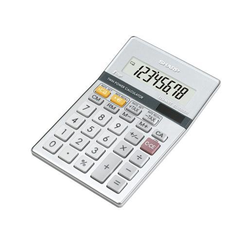 Sharp Semi-Desktop Calculator 8-digit Silver EL-330ERB