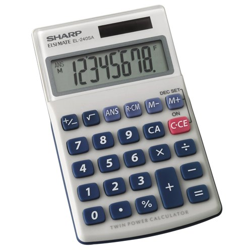 Sharp Pocket Calculator EL240SAB 8 Digit