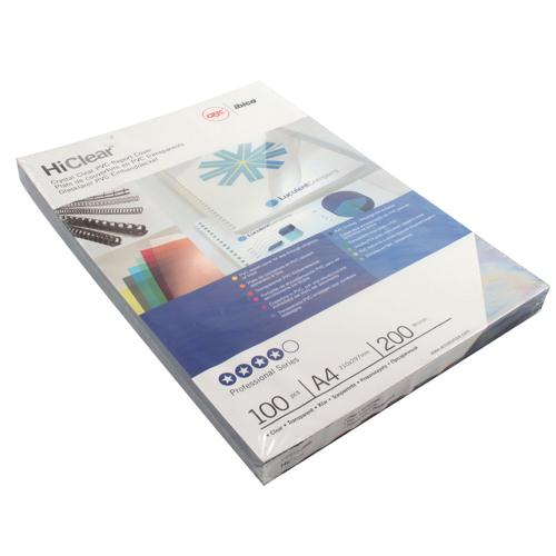 GBC HiClear PVC 200 Micron A4 Binding Covers Pack of 100