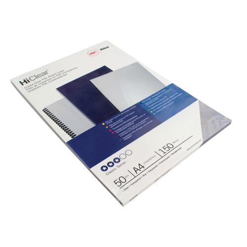 GBC HiClear PVC 150 Micron A4 Binding Covers Pack of 100