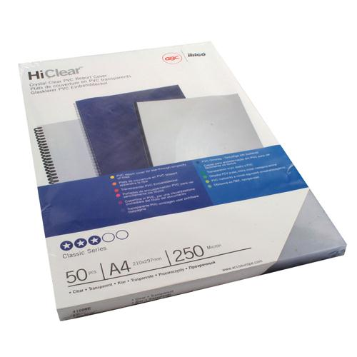 GBC HiClear PVC 250 Micron A4 Binding Covers Pack of 50