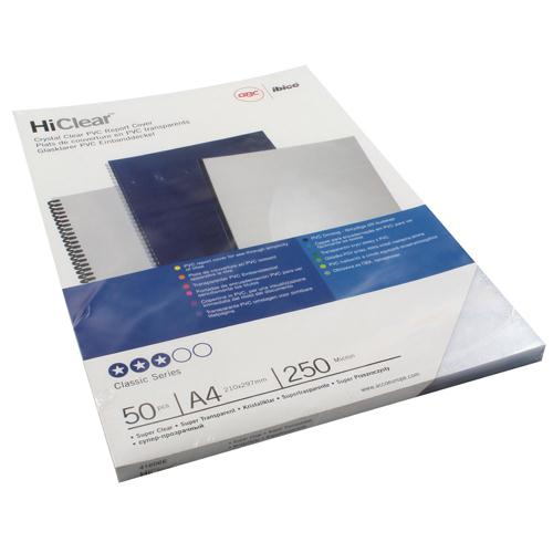 GBC HiClear 250 Micron A4 Binding Covers Pack of 50