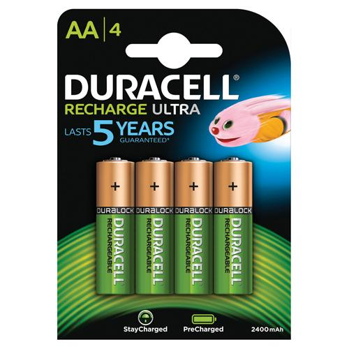 Duracell Recharge Ultra AA Batteries Pack of 4 REF STAYCHARGED PREM