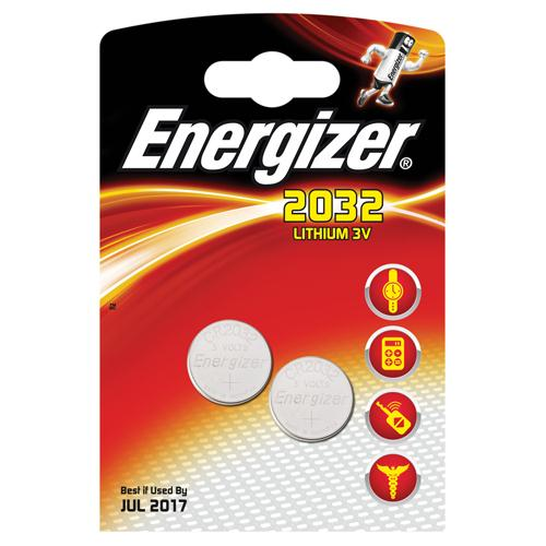 Energizer Lithium 2032/CR2032 Batteries Pack of 2 REF 624835