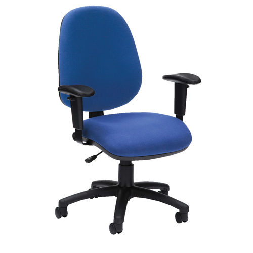 Pyramid High Back Operator Chair Asynchro With Height Adjustable Arms Blue Ref PYR26PYRHABLUE Each
