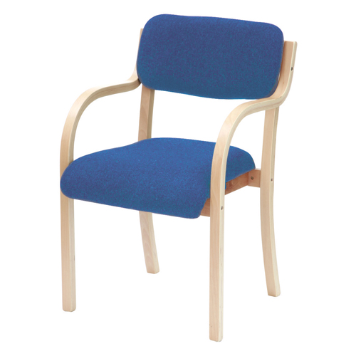 Turner Chair With Arms Beechwood Blue Ref TU2/BLUE Each