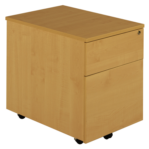 Deluxe 2 Drawer Low Under Desk Mobile Pedestal 600mm Ref MP2BCH
