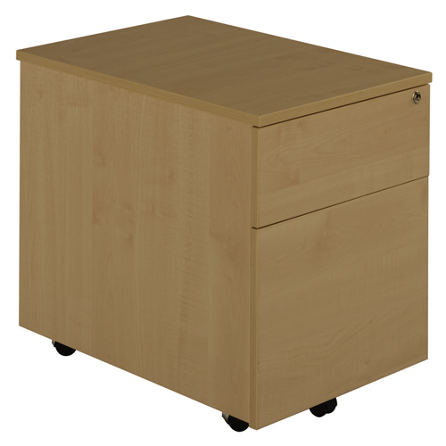 Deluxe 2 Drawer Low Under Desk Mobile Pedestal 600mm Oak Ref MP2OAK