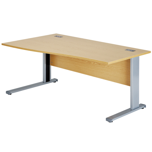 Workmode Plus 1400 Left Hand Wave Workstation Cantilever Beech/Silver Ref ZWMP1410LWCB/S Each