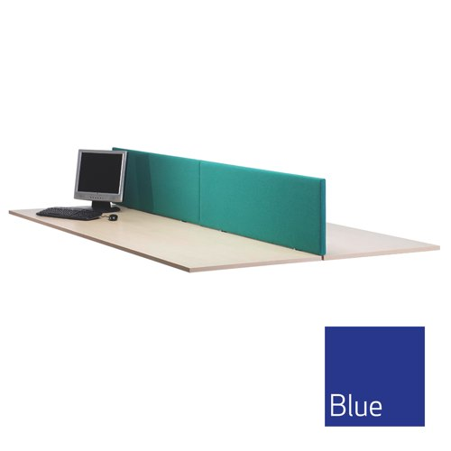 Lyle Straight Desktop Screen 1800mm Fabric Camira Cara Cluanie Blue C/W 2 L-ST-1838BL Each