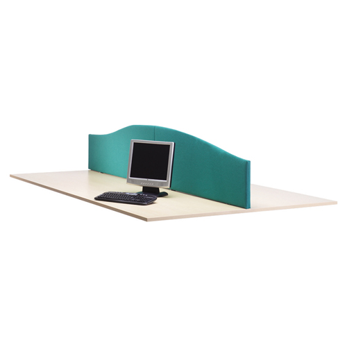 Lyle Curved Desktop Screen 1400mm Fabric Camira Cara Cluanie Blue C/W 2 L-WV-1438BL Each