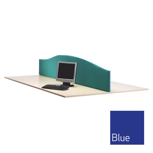 Lyle Curved Desktop Screen 1600mm Fabric Camira Cara Cluanie Blue C/W 2 L-WV-1638BL Each