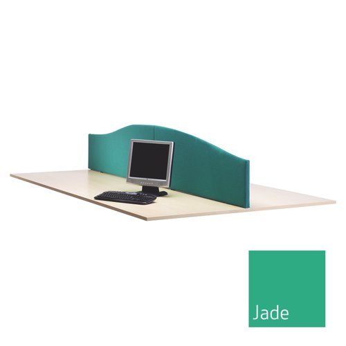 Lyle Curved Desktop Screen 1800mm Fabric Camira Cara Carron Jade C/W 2 L-WV-1838JD Each