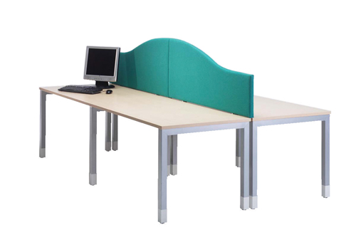 Lyle Arc Desk Mounted Screen 1800x380/180mm. Blue C/W 2 L-AC-1838BL Fabric Camira Cara Cluanie Each
