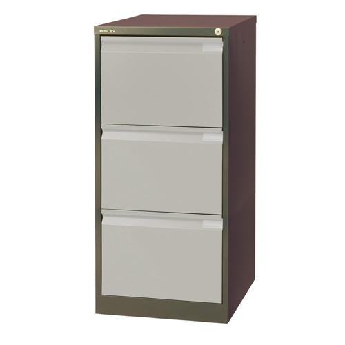 Bisley 3 Drawer Filing Cabinet 470 x 622 x 1016mm Coffee Cream Ref BS3EC/C