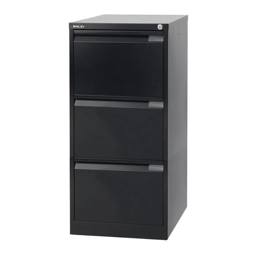 Bisley 3 Drawer Filing Cabinet 470x622x1016mm Black Ref BS3E/BLK