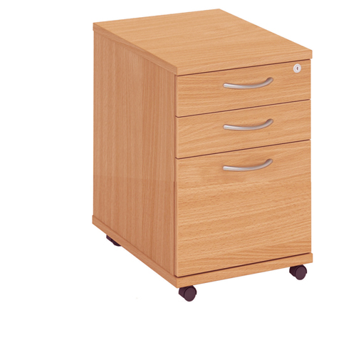 Fraction High Mobile 3 Drawer Underdesk Pedestal Oak Ref FHMP3/OAK Each