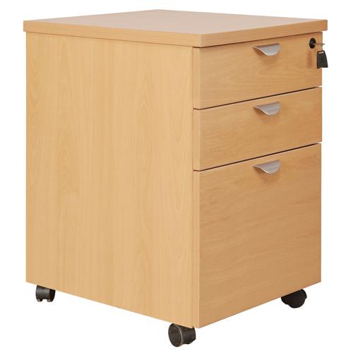 Fraction High Mobile 3 Drawer Underdesk Pedestal Beech Ref FHMP3/BCH Each