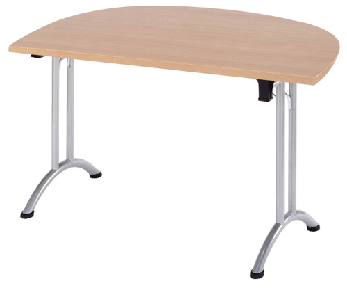 Union Trapezoidal Desk 1400 x 700 x 720mm Oak/Silver Ref  ZUNTZ147O/S