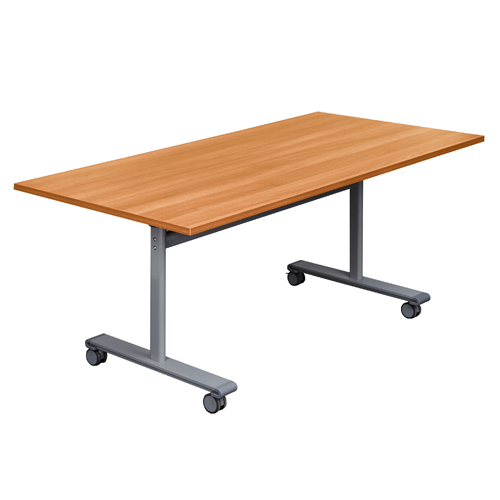 Rectangular Desks Gyrate Rectangular Flip Top Meeting Table in Beech with Silver Frame