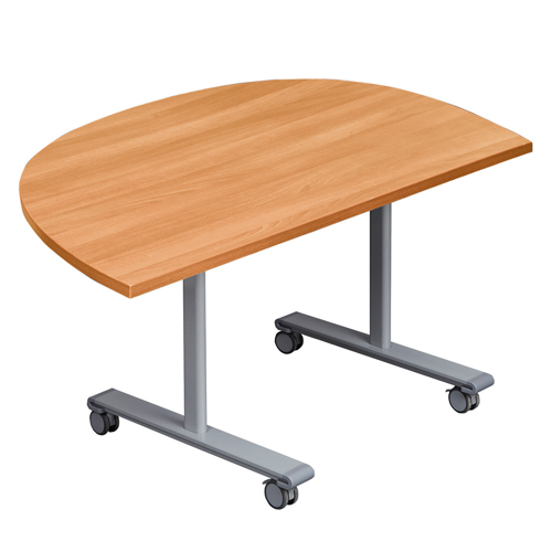 Boardroom / Meeting Gyrate DinEnd Flip Top Meeting Table With Silver Frame