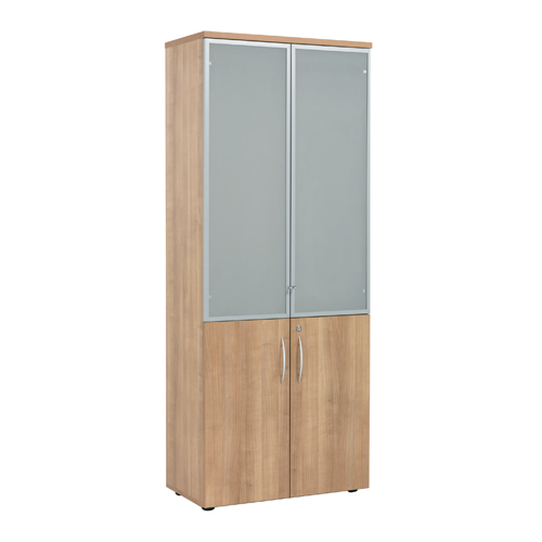 E Space High Cabinet with Wooden and Glass Doors Ref ZES625CAP