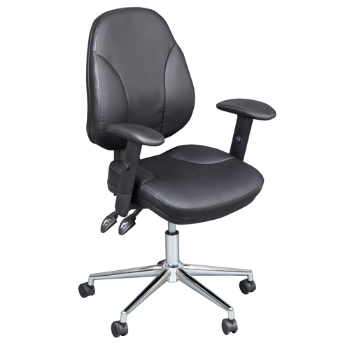 Desk Chairs Puma Executive Leather Medium Back Armchair - Black CH1003BK
