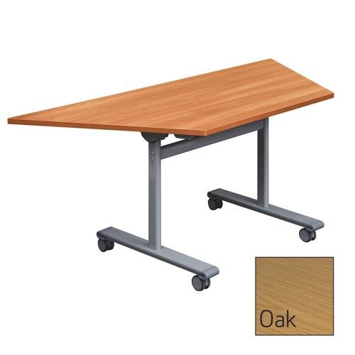 Gyrate Mobile Flip-Top Trapezoidal Table 1600x800x727mm Oak Ref ZGYTZ168O/S Each