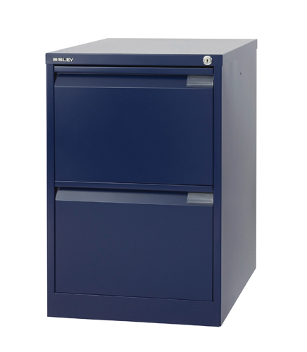 Steel Bisley 2 Drawer Filing Cabinet 470x622x711mm Oxford Blue Ref BS2E/BLUE