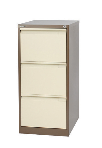 Steel Bisley 3 Drawer Filing Cabinet 470x622x1016mm Chalk Ref BS3E/CHK