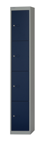 Bisley Locker 4 Door 1802x305x457mm Grey/Blue Ref CLK184G/B Each