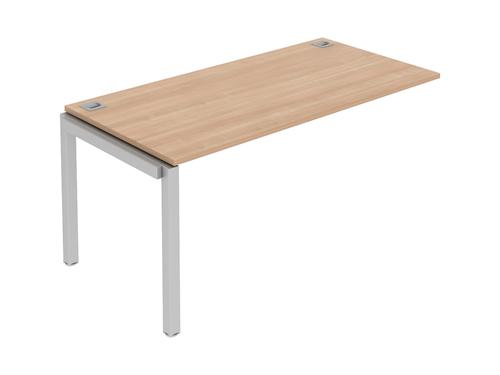 Matrix Single Bench Desk Shared Leg 1400x800x725mm White/Silver Ref MR14/8/INT/WH/S