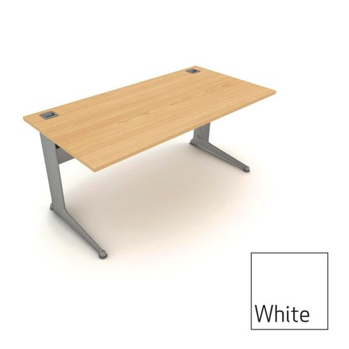Kassini Rectangular Workstation 1600x800x725mm White/Silver Ref KR16/W/S