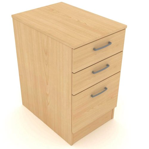 Kassini Under Desk Pedestal 600mm Deep 420x600x630mm Beech/Silver Ref DHPF/B/S