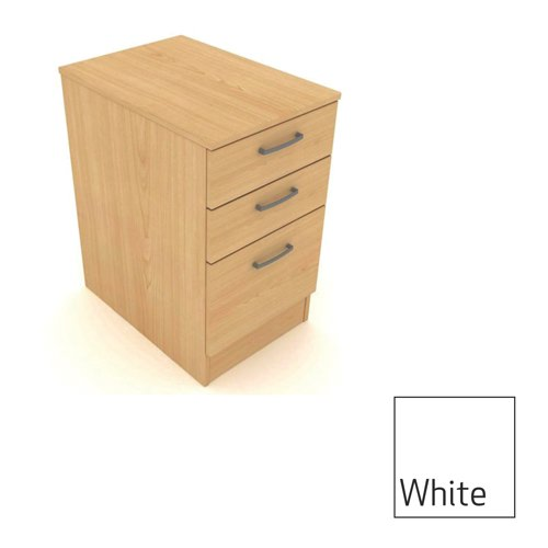 Kassini Under Desk Pedestal 600mm Deep 420x600x630mm White/Silver Ref DHPF/W/S