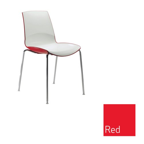 Ice 4 Leg Stacking Chair Red Outer Shell Ref MNO1