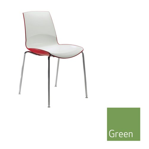 Ice 4 Leg Stacking Chair Green Outer Shell Ref MNO1
